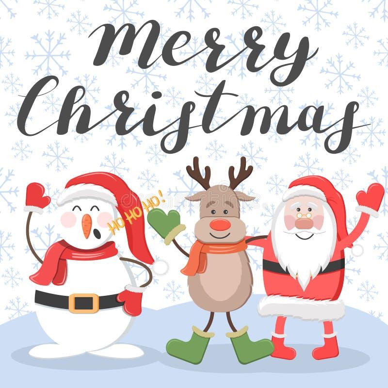 Feliz Navidad Papá Noel, ciervos y muñeco de nieve ilustración del vector