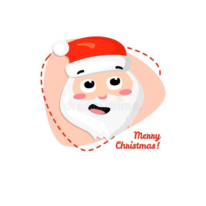 Feliz Navidad Papá Noel Ejemplo del retrato del carácter de Santa Claus de la historieta del vector ilustración del vector