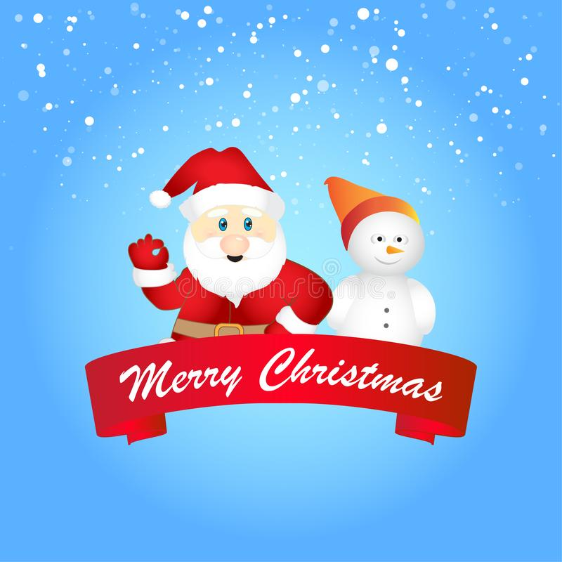 Feliz Navidad, Papá Noel en escena de la nieve de la Navidad ilustración del vector