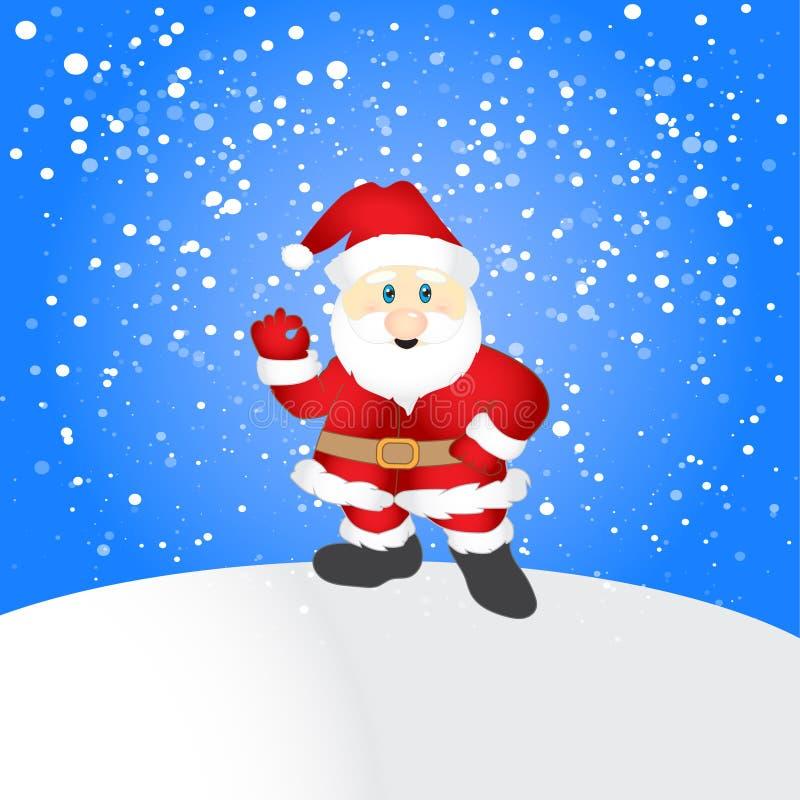 Feliz Navidad, Papá Noel en escena de la nieve de la Navidad stock de ilustración