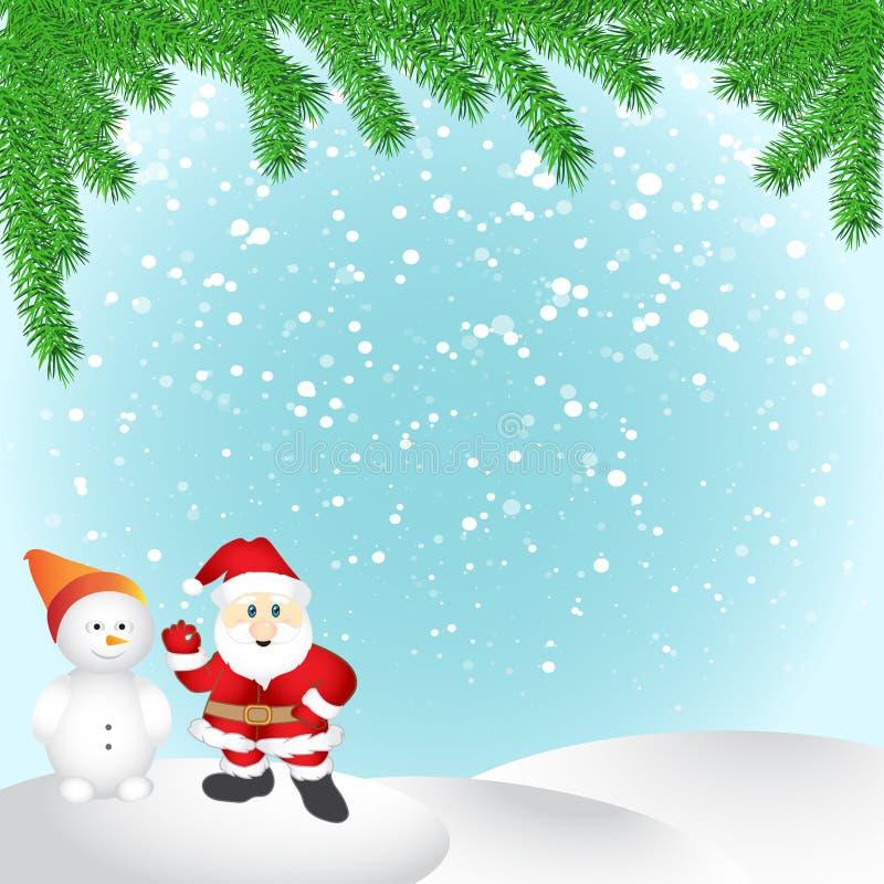 Feliz Navidad, Papá Noel en escena de la nieve de la Navidad libre illustration