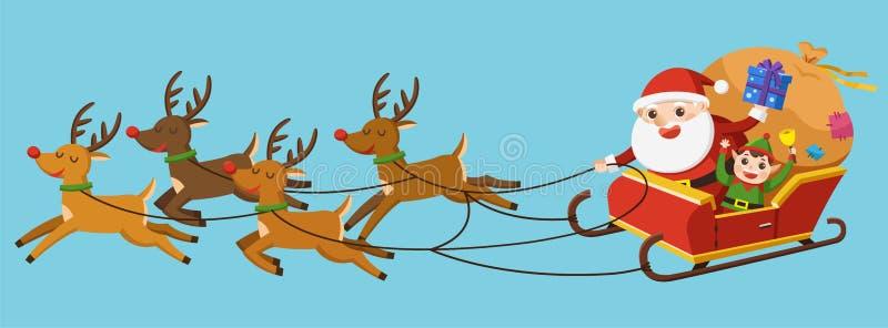 Feliz Navidad Papá Noel que monta en trineo con los renos stock de ilustración