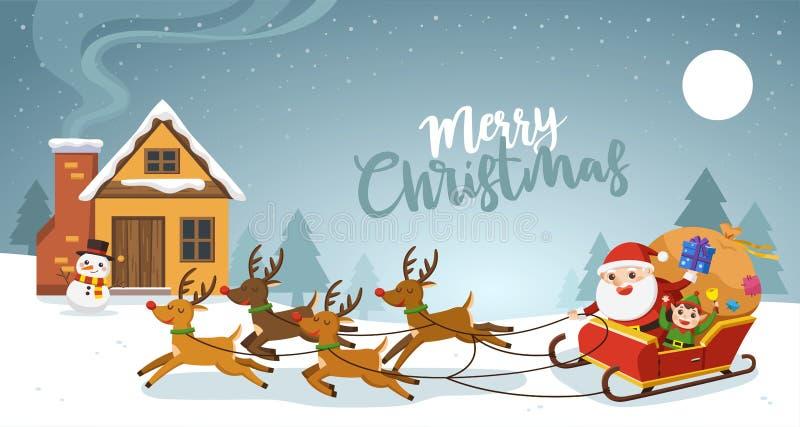 Feliz Navidad Papá Noel que monta en trineo con los renos libre illustration