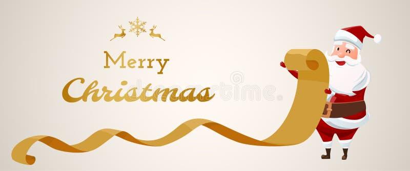 Feliz Navidad Papel viejo de la lista de comprobación de Santa Claus ilustración del vector