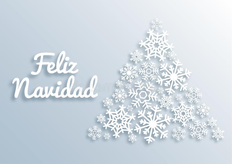 Feliz Navidad. Paper style Merry Christmas card with greetings in spanish language. Christmas tree made of white vector illustration