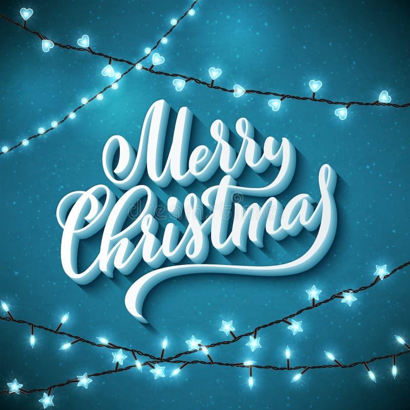 Feliz Navidad Plantilla para la tarjeta de felicitación del día de fiesta con las letras manuscritas y las luces chispeantes real stock de ilustración