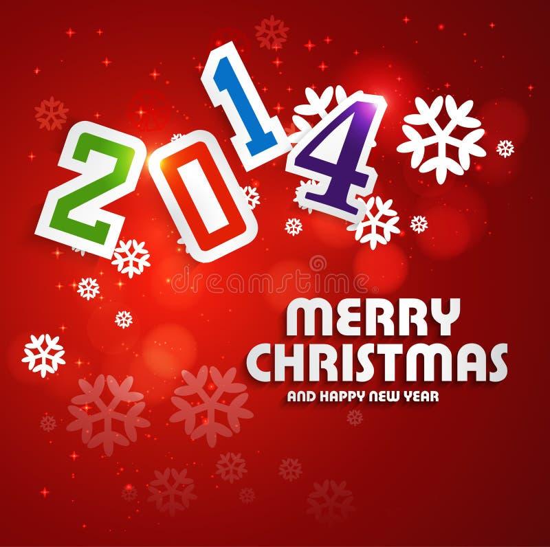 Feliz Navidad por la Feliz Año Nuevo 2014 colorida  ilustración del vector