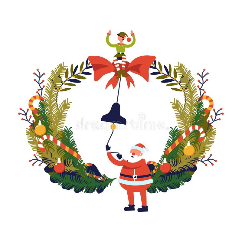 Feliz Navidad, preparación de las vacaciones de invierno de Papá Noel y duende libre illustration