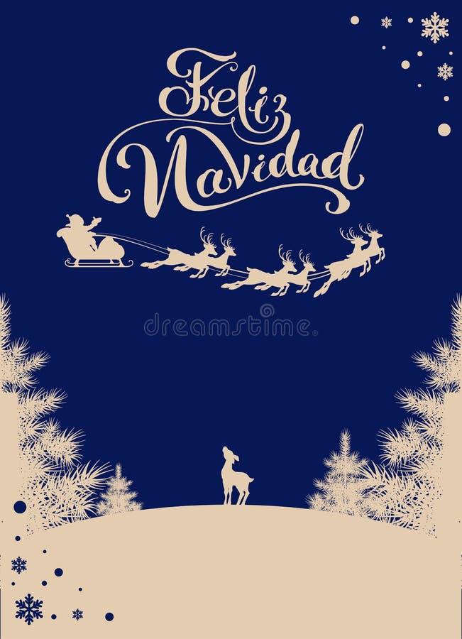 Feliz navidad przekładowi Hiszpańscy Wesoło boże narodzenia Sylwetki Santa sanie renifer w nocnym niebie Zamarznięty las royalty ilustracja