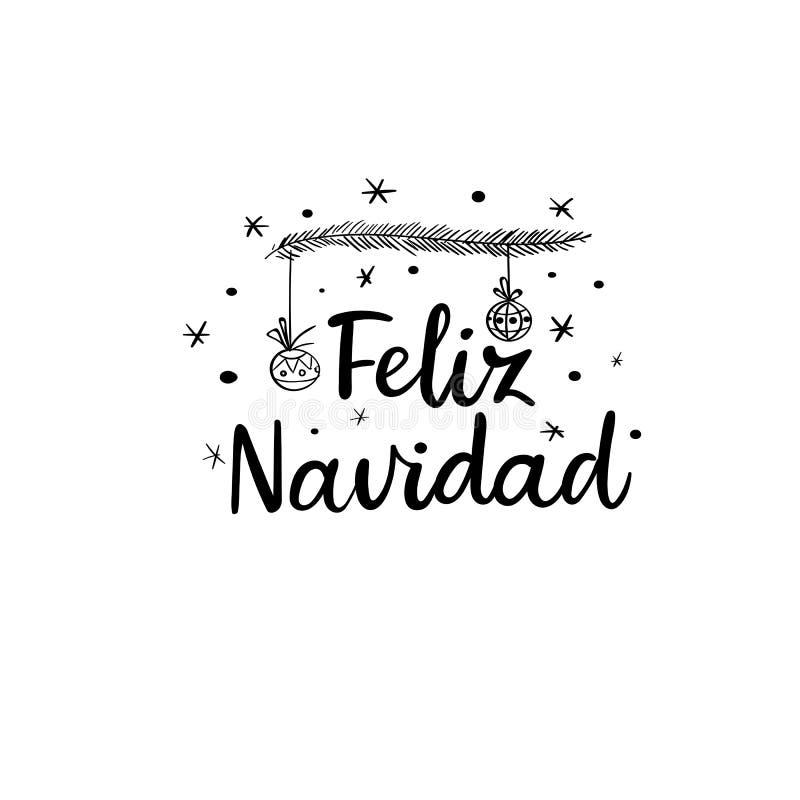 Feliz Navidad ręki literowania kartka z pozdrowieniami Wektorowy illistration Nowożytna kaligrafia ilustracji