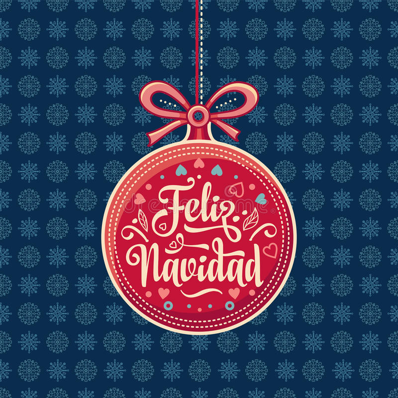 Feliz Navidad Roter Weihnachtsball mit guten Wünschen auf spanisch stock abbildung