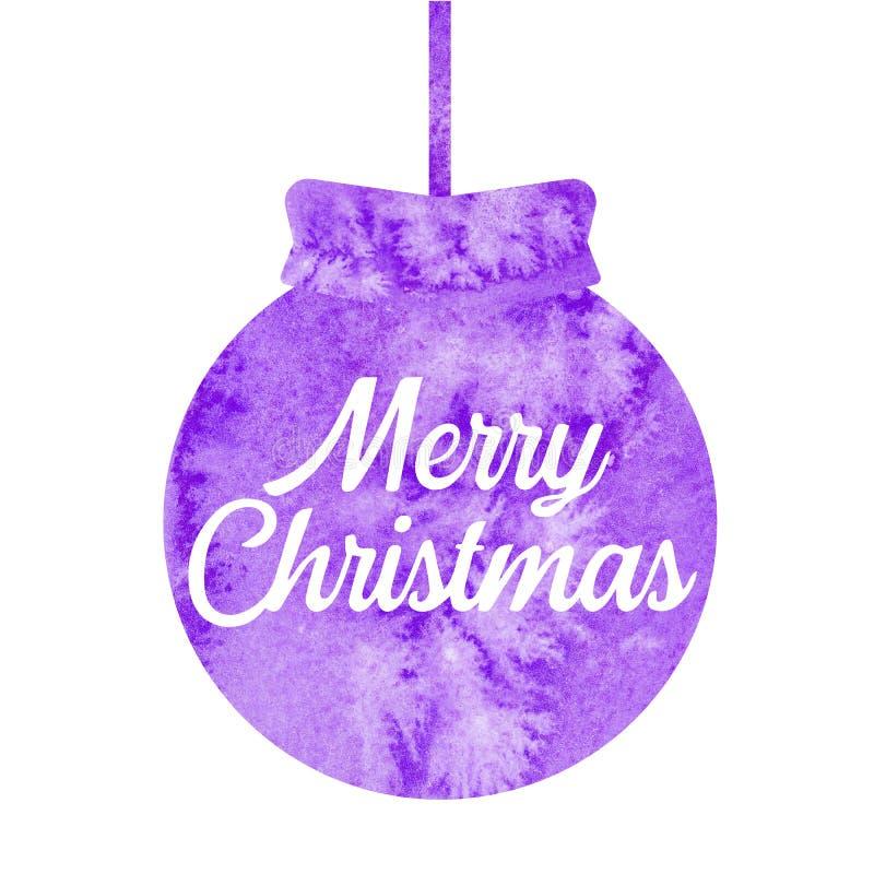 Feliz Navidad Saludo de la tarjeta de Navidad con la bola púrpura de la Navidad watercolor stock de ilustración