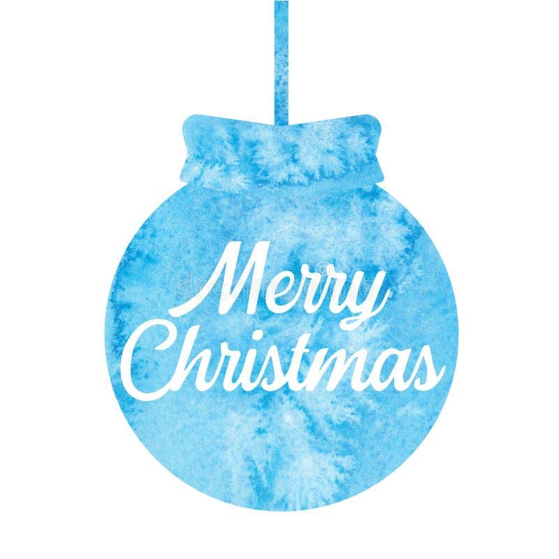 Feliz Navidad Saludo de la tarjeta de Navidad con la bola de la Navidad watercolor stock de ilustración