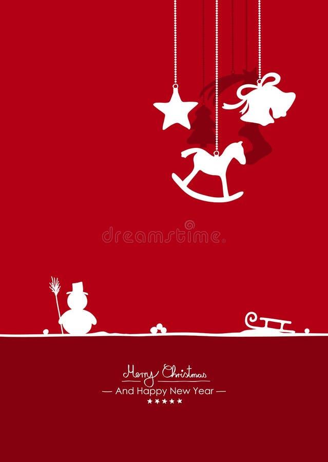 Feliz Navidad - saludo simple del vector y temporeros de la tarjeta de Navidad stock de ilustración