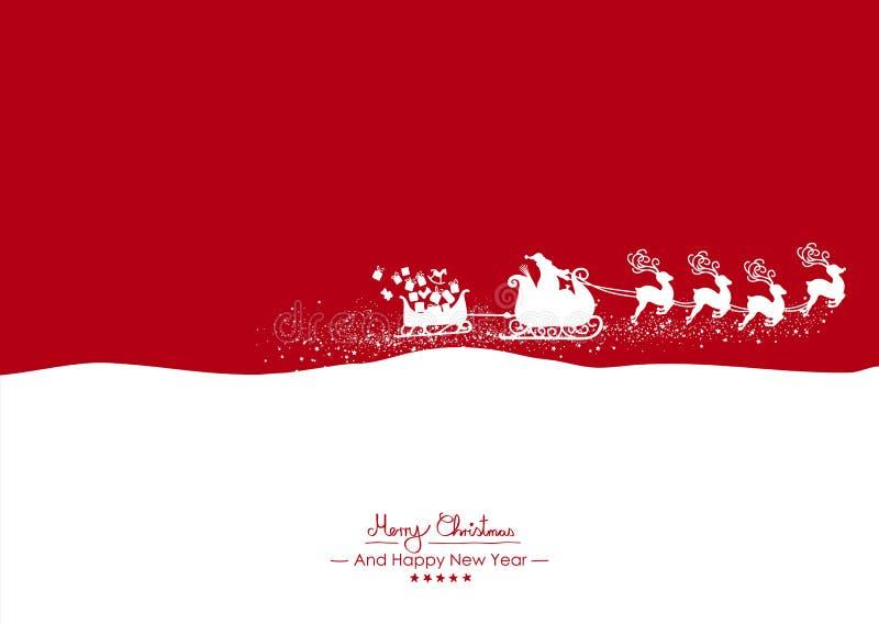 Feliz Navidad - Santa Claus blanca que vuela con el reno en rojo ilustración del vector