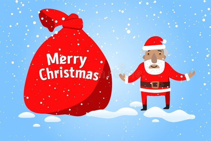 Feliz Navidad Santa Claus con un saco grande de regalos en escena de la nieve de la Navidad stock de ilustración