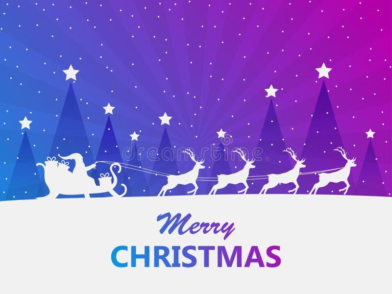 Feliz Navidad Santa Claus en un trineo con el reno Tarjeta de felicitación con diseño del paisaje del invierno Vector libre illustration