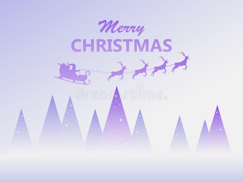 Feliz Navidad Santa Claus en un trineo con el vuelo del reno Paisaje del invierno con los abetos Vector ilustración del vector