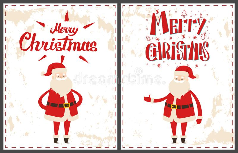 Feliz Navidad Santa Claus Pointing en algo stock de ilustración