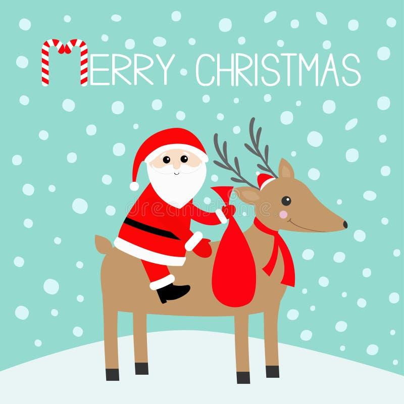 Feliz Navidad Santa Claus que sostiene el bolso del regalo Cuernos lindos de los ciervos de la historieta, sombrero rojo, bufanda stock de ilustración
