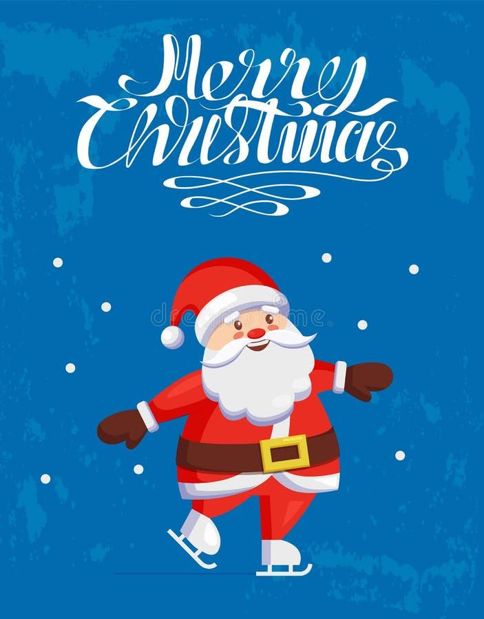 Feliz Navidad, Santa Claus Skating en pista del patín ilustración del vector
