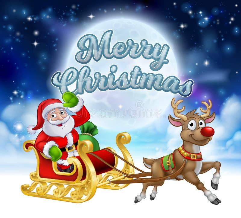 Feliz Navidad Santa Sleigh Cartoon Graphic ilustración del vector