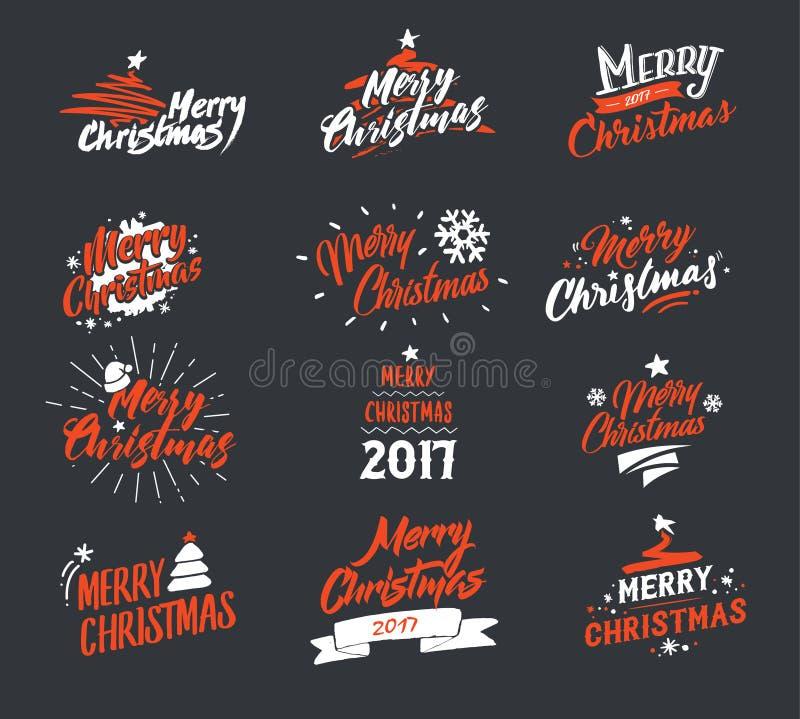 Feliz Navidad Sistema de la tipografía Diseño de letras del ejemplo del vector que brilla Usable para las banderas, las tarjetas  libre illustration