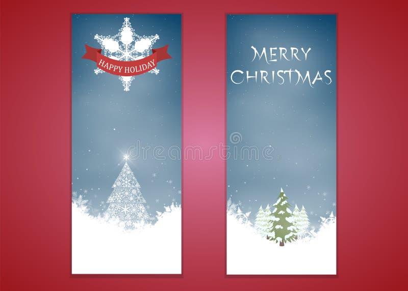 Feliz Navidad, sistema vertical del fondo del diseño de la bandera, ejemplo del vector libre illustration