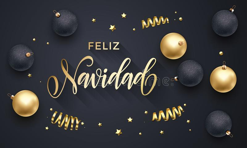 Feliz Navidad Spanish Merry Christmas golden decoration, hand drawn calligraphy golden font for invitation black festive backgroun royalty free illustration