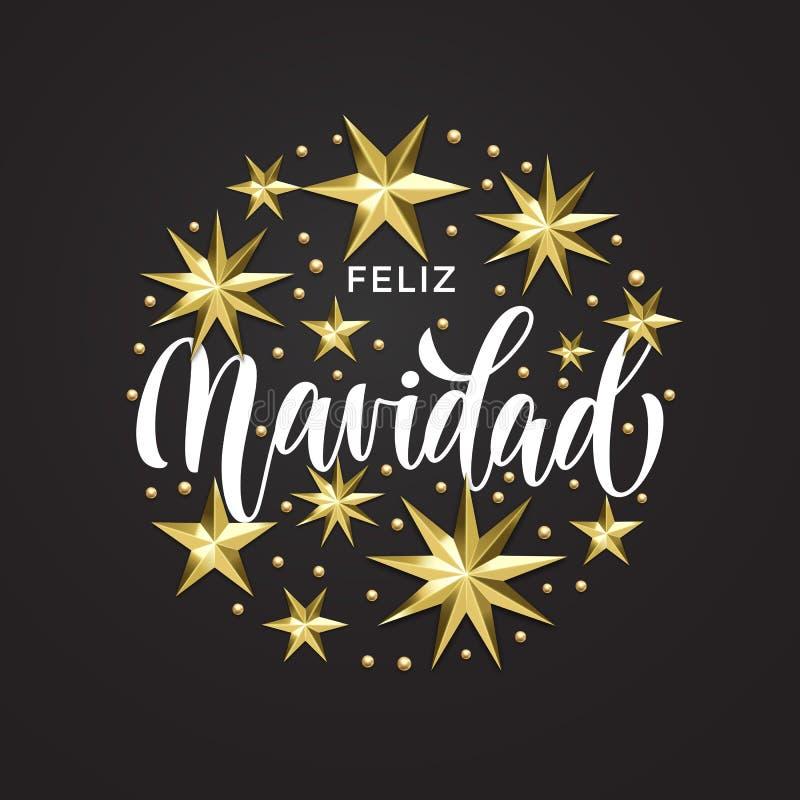 Feliz Navidad Spanish Merry Christmas golden star decoration and calligraphy font of Xmas holiday invitation greeting card. Vector stock illustration