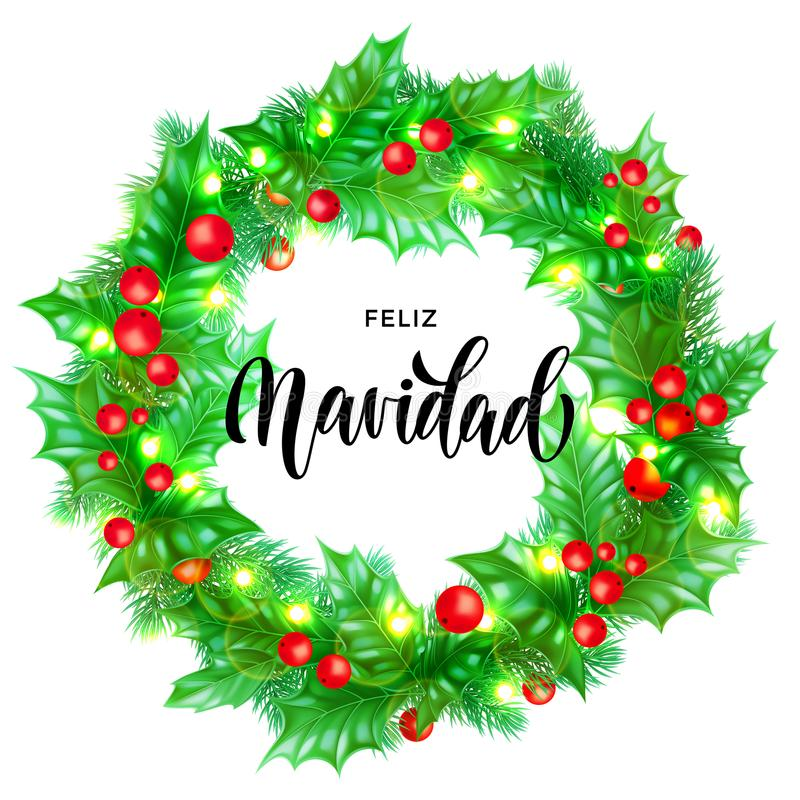 Free Feliz Navidad Spanish Merry Christmas Hand Drawn Calligraphy And Holly Wreath Decoration With Golden Lights Garland Frame For Holi Royalty Free Stock Photos - 104236228