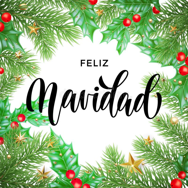 Free Feliz Navidad Spanish Merry Christmas Hand Drawn Calligraphy And Holly Wreath Decoration With Golden Stars Garland Frame For Holid Stock Image - 104242711