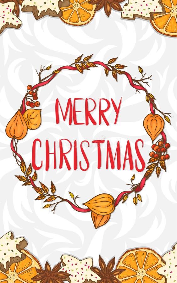 Feliz Navidad Tarjeta con una guirnalda festiva ilustración del vector