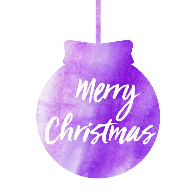 Feliz Navidad Tarjeta de Navidad con la bola de la Navidad de la acuarela Ilustración de la acuarela ilustración del vector