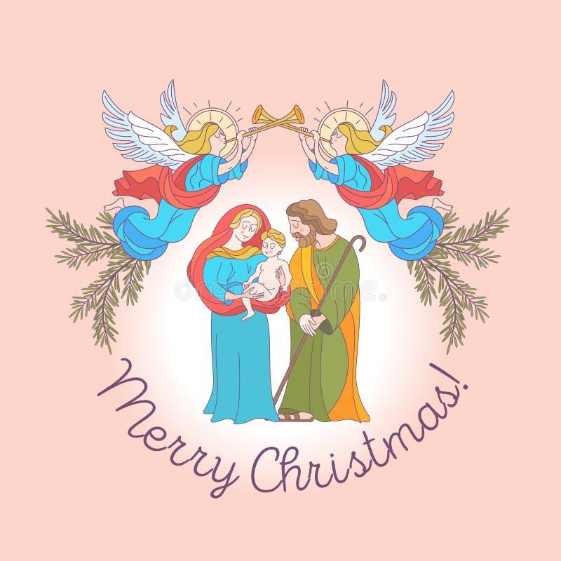 Feliz Navidad Tarjeta de felicitación del vector Virgen María, bebé Jesús a stock de ilustración