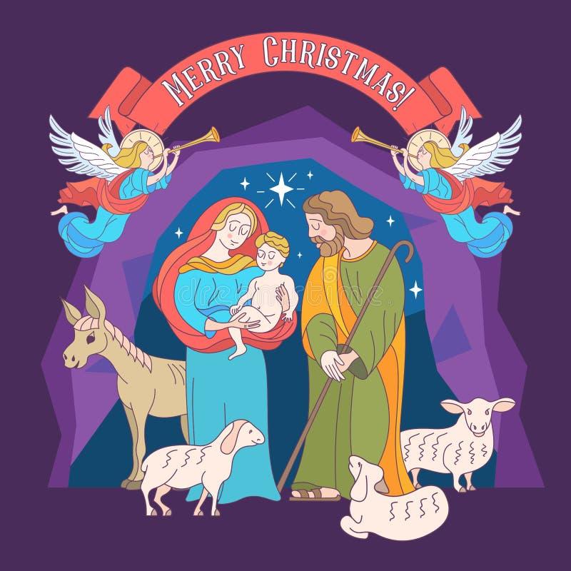 Feliz Navidad Tarjeta de felicitación del vector Virgen María, bebé Jesús a libre illustration