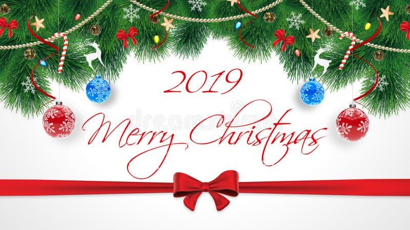 Feliz Navidad 2019 Tarjeta original linda de la enhorabuena de la Feliz Navidad con la suscripción Suscripción en el blanco fotos de archivo libres de regalías