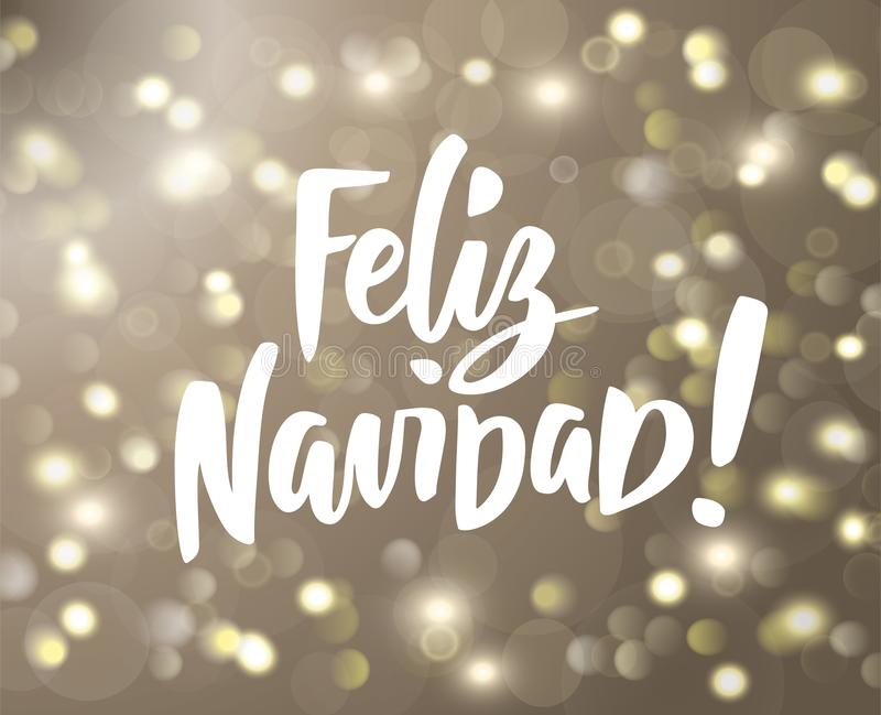 Feliz navidad text holiday greetings spanish quote isolated on golden glowing lights background bokeh effect holiday greetings spanish quote great for christmas and new year cards posters gift tags vector m4hsunfo