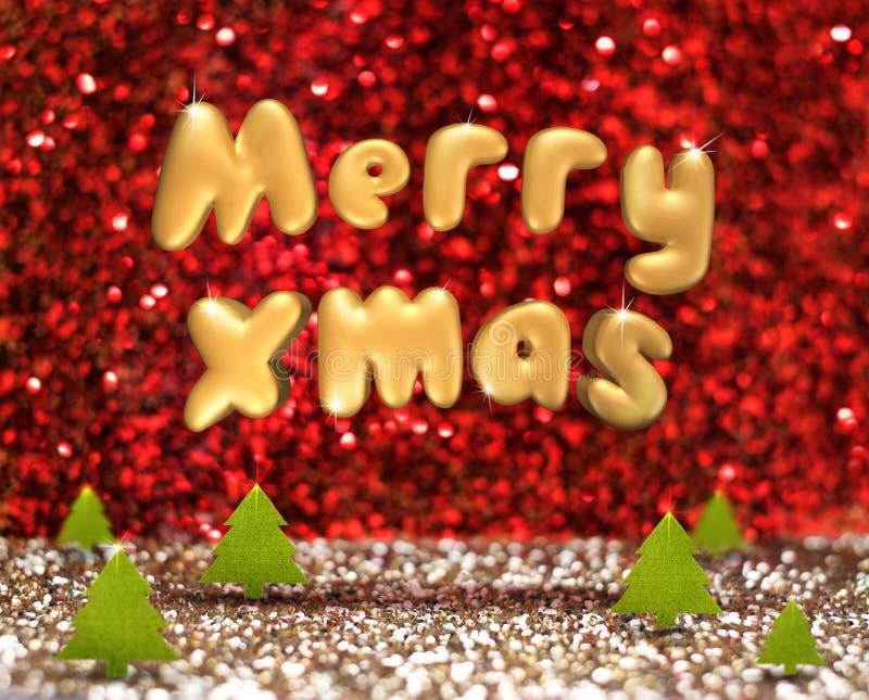 Feliz Navidad (texto de la representación 3D) que flota sobre tre verde de la Navidad libre illustration