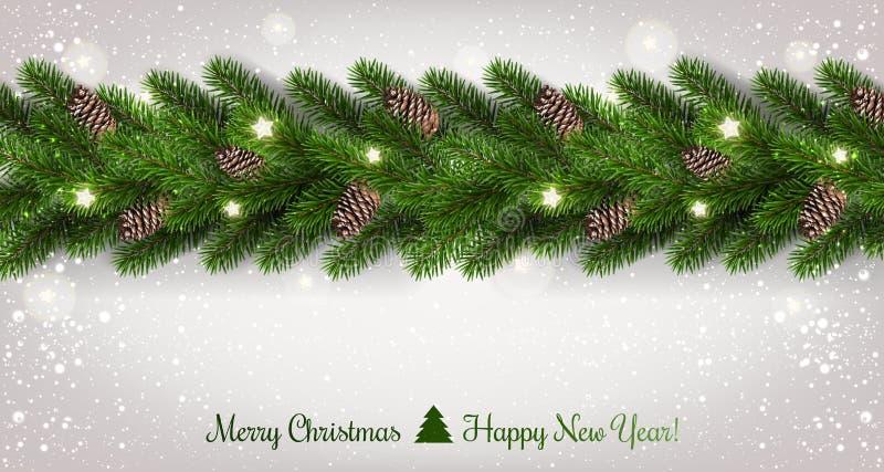 Feliz Navidad tipográfica en el fondo blanco con la guirnalda de las ramas de árbol adornadas con las estrellas, luces, copos de  stock de ilustración