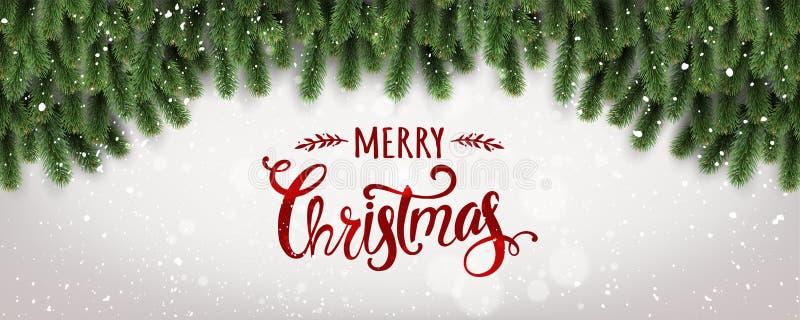 Feliz Navidad tipográfica en el fondo blanco con las ramas de árbol adornadas con las estrellas, luces, copos de nieve libre illustration