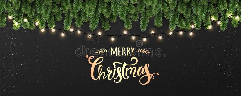 Feliz Navidad tipográfica en fondo negro con las ramas de árbol adornadas con las estrellas, luces, copos de nieve ilustración del vector