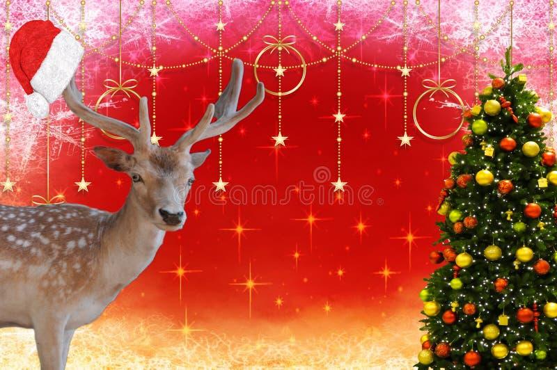 Feliz Navidad un ciervo con un capo de Papá Noel en sus astas y un árbol de navidad adornado en una Navidad hermosa b foto de archivo libre de regalías