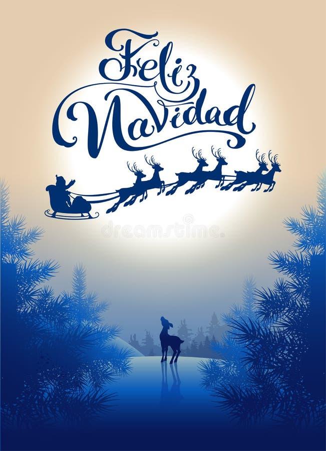 Feliz navidad vertaling van Spaanse Vrolijke Kerstmis Van letters voorziende kalligrafietekst voor groetkaart De ar van de silhou stock illustratie