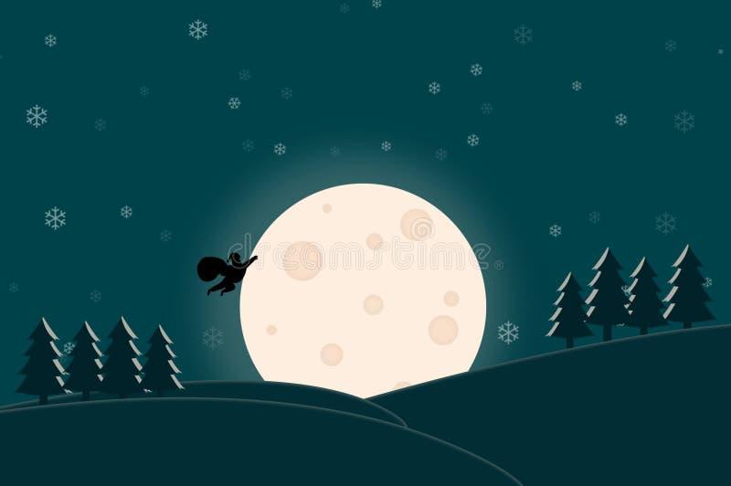Feliz Navidad - vuelo de Santa Claus en la noche de la Luna Llena stock de ilustración