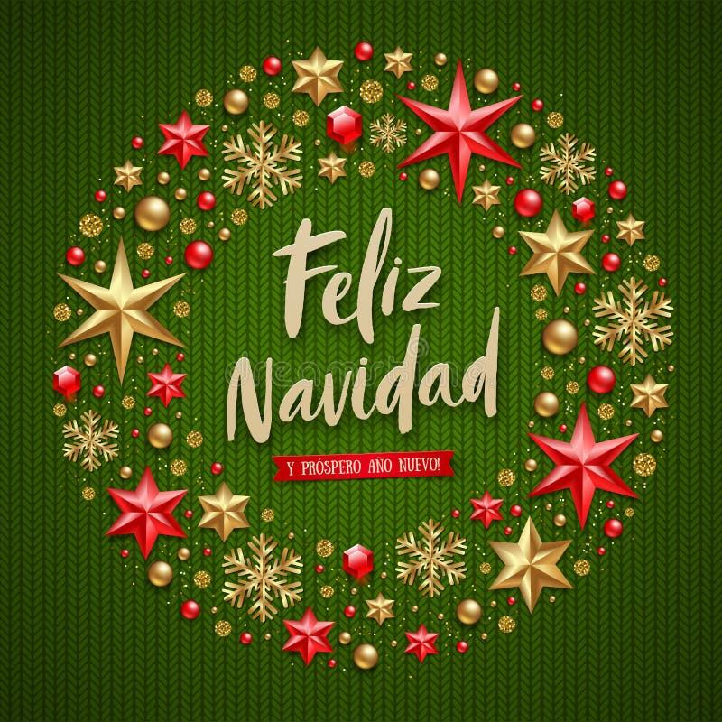 Feliz-navidad - Weihnachtsgrüße auf spanisch Bürstenkalligraphie-Feiertagsgruß und Weihnachtsdekoration stock abbildung