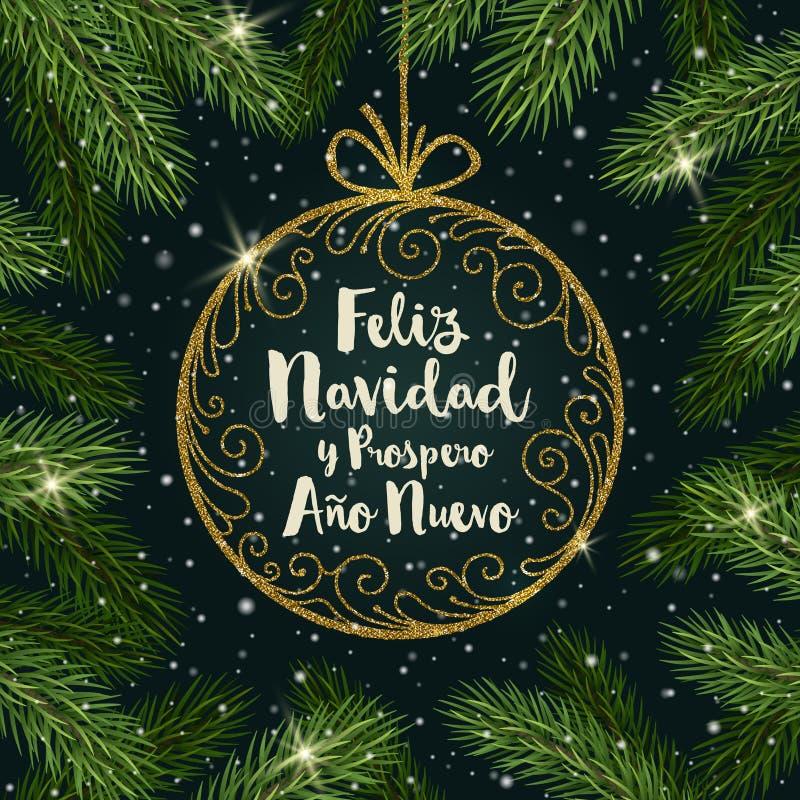 Feliz-navidad - Weihnachtsgrüße auf spanisch Funkelngoldaufwändiger Flitter mit Bürstenkalligraphie vektor abbildung