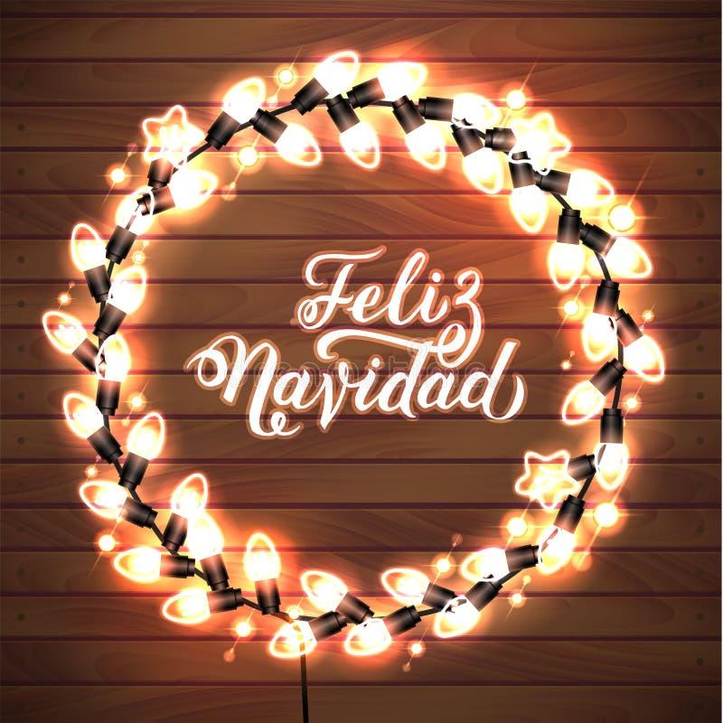 Feliz Navidad Wesoło boże narodzenia Hiszpański Rozjarzony Bożenarodzeniowy światło białe wianek dla Xmas kartki z pozdrowieniami ilustracja wektor