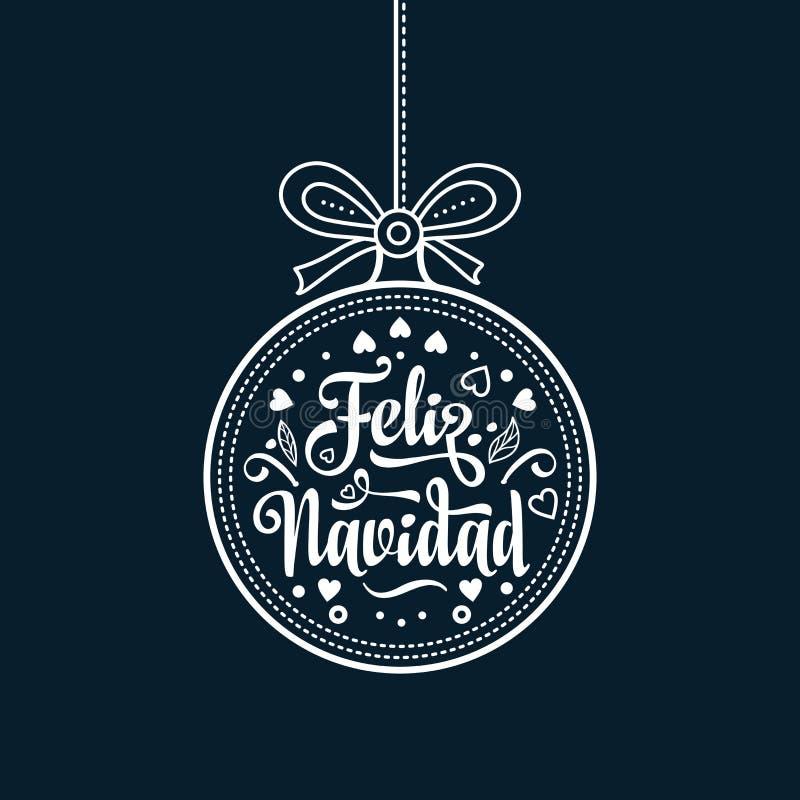 Feliz Navidad Xmas karta na Hiszpańskim języku Grże życzenia dla szczęśliwych wakacji fotografia stock