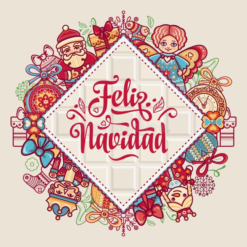 Feliz Navidad Xmas-kort på spanskt språk royaltyfri illustrationer
